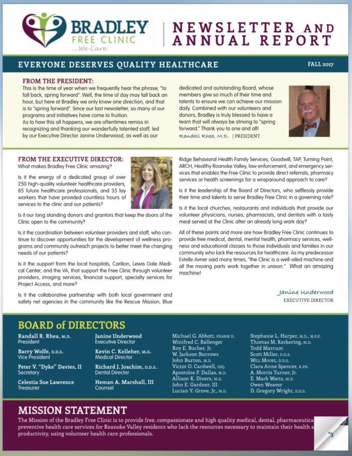 Bradley Free Clinic newsletter