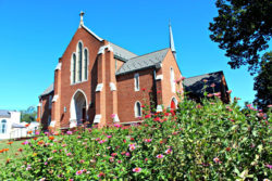 Church with flowers in front